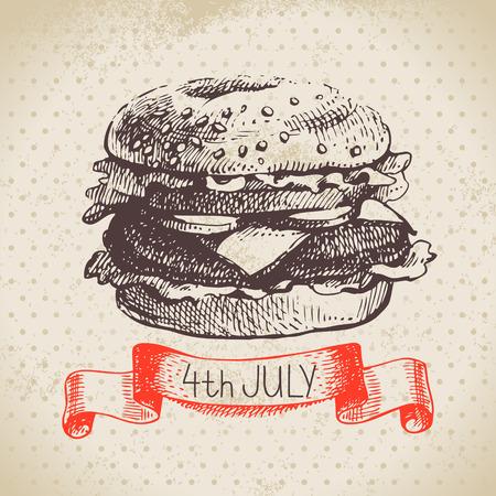 independencia: El 4 de julio de fondo de la vendimia. D�a de la Independencia de Am�rica dibujado a mano dise�o del bosquejo