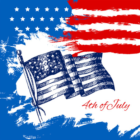 4th of July background with American flag. Independence Day vintage hand drawn sketch design  Vector