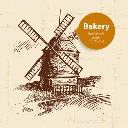 wheaten: windmill sketch background. Vintage hand drawn illustration