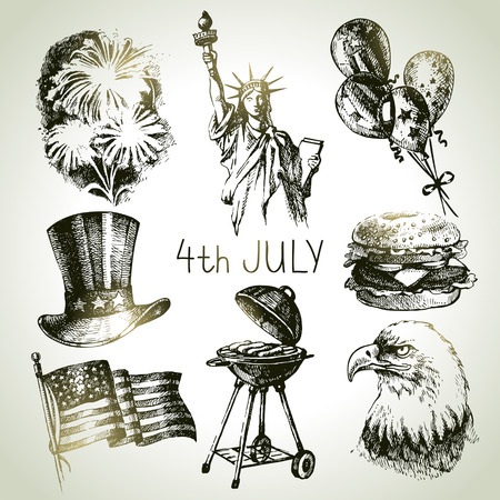 usa patriotic: 4th of July set. Hand drawn illustrations of Independence Day of America