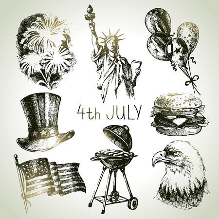aguila americana: Cuarto del conjunto de Julio. Ilustraciones drenadas mano del Día de la Independencia de América Vectores