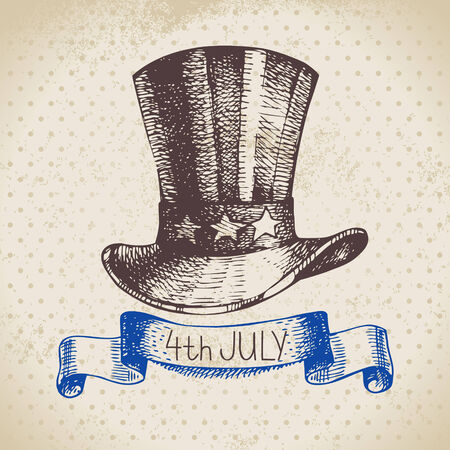 4th of July vintage background. Independence Day of America hand drawn sketch design Vector