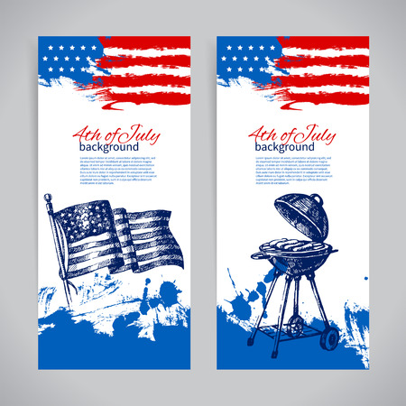 Banners of 4th July background with American flag. Independence Day hand drawn sketch design  Vector