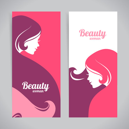 business woman: Banners with stylish beautiful woman silhouette. Template design cards