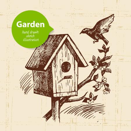 birdhouse: Vintage sketch birdhouse background. Hand drawn design  Illustration