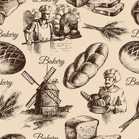 パン屋のスケッチのシームレスなパターン。ヴィンテージ手描きイラスト