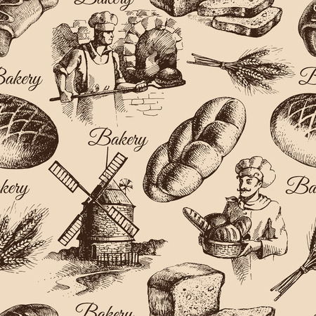 baker: Bakery sketch seamless pattern. Vintage hand drawn illustration