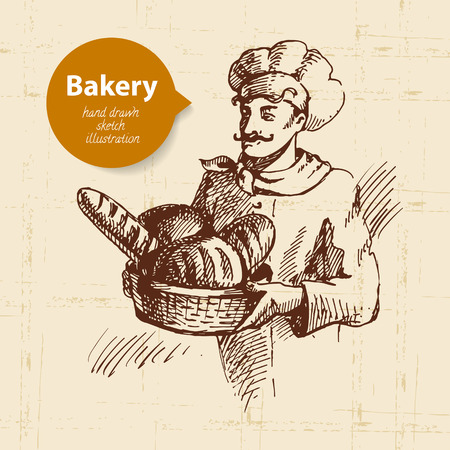 wheaten: Baker sketch background. Vintage hand drawn illustration