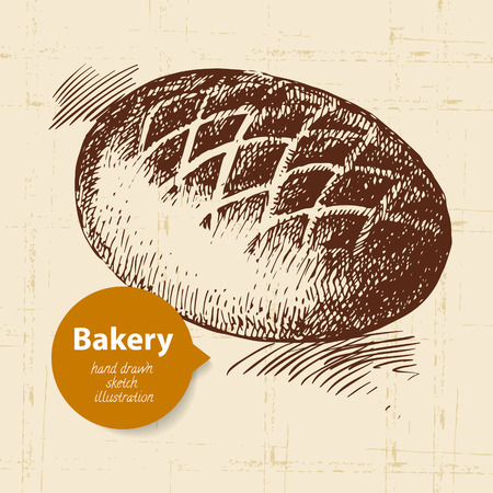 wheaten: bread sketch background. Vintage hand drawn illustration