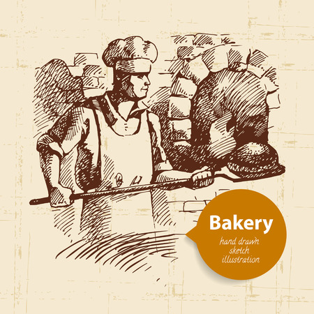 oven: Baker sketch background. Vintage hand drawn illustration