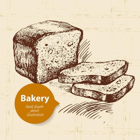 produits céréaliers: pain croquis fond. Illustration tirée par la main de cru Illustration
