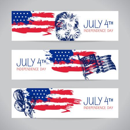 julio: Banners de la 4 ª antecedentes de julio con la bandera americana. Diseño del bosquejo dibujado a mano Día de la Independencia Vectores