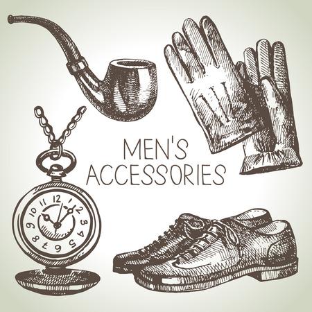 brogues: Sketch gentlemen accessories. Hand drawn men illustrations set  Illustration