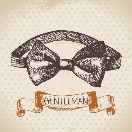 noeud papillon: Accessoire de messieurs croquis. Tiré par la main des hommes illustration Illustration