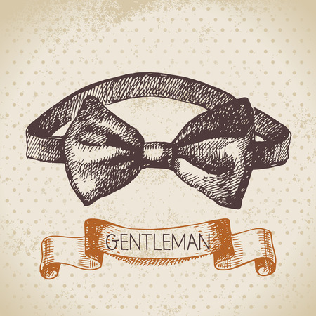 bow tie: Sketch gentlemen accessory. Hand drawn men illustration Illustration