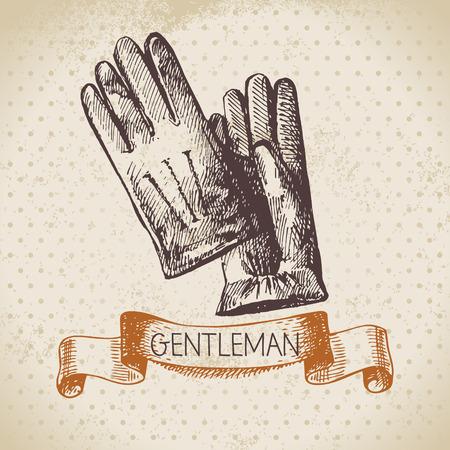 Sketch gentlemen accessory. Hand drawn men illustration Illustration