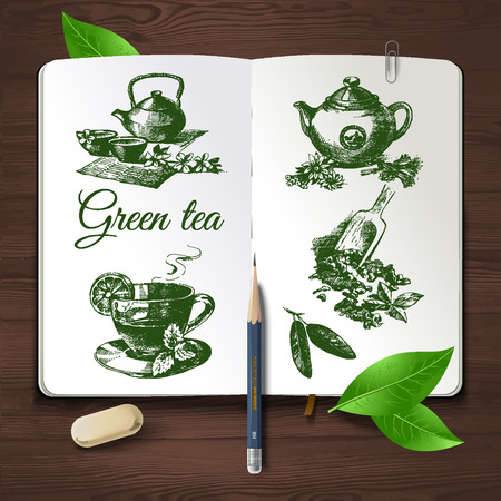 kettle: Hand drawn sketch tea set.Vector identity set on wooden background