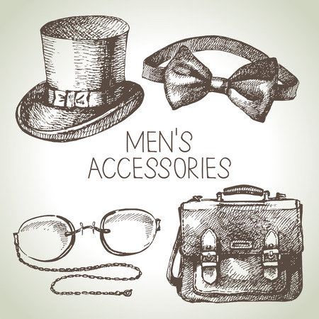 eyewear fashion: Sketch gentlemen accessories. Hand drawn men illustrations set  Illustration