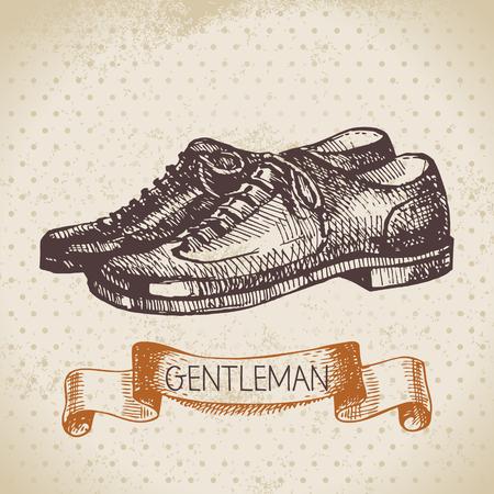 Sketch gentlemen accessory. Hand drawn men illustration Vector
