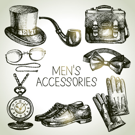 personal accessory: Sketch gentlemen accessories  Hand drawn men illustrations set