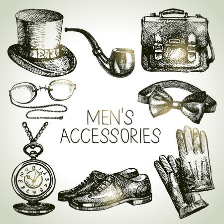 brogues: Sketch gentlemen accessories  Hand drawn men illustrations set
