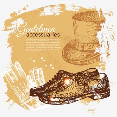 brogues: Sketch gentlemen accessory vintage background  Hand drawn men illustration  Illustration