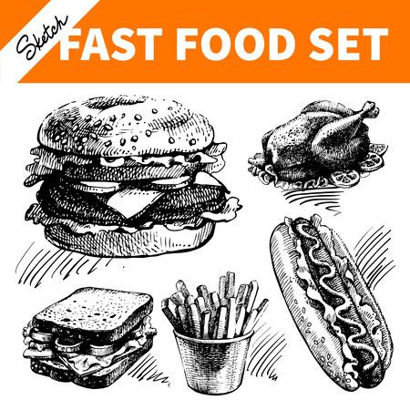 comida rápida: Comida r�pida establecido. Dibujado a mano ilustraciones de croquis Vectores
