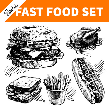 chicken dish: Fast food set. Hand drawn sketch illustrations  Illustration