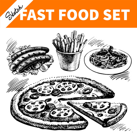 Fast food set. Hand drawn sketch illustrations Stock Vector - 29560706