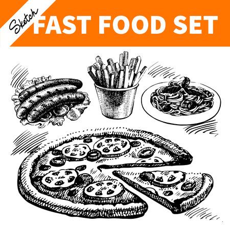 Fast food set. Hand drawn sketch illustrations  Vector
