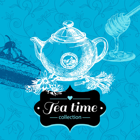 Tea vintage background. Hand drawn sketch illustration. Menu design  Vector