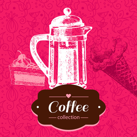 Vintage coffee background. Hand drawn sketch illustration. Menu design Vector