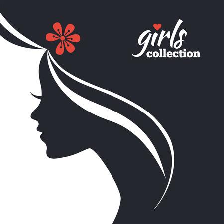 Bella donna silhouette con fiori. Raccolta Ragazze Archivio Fotografico - 29561036