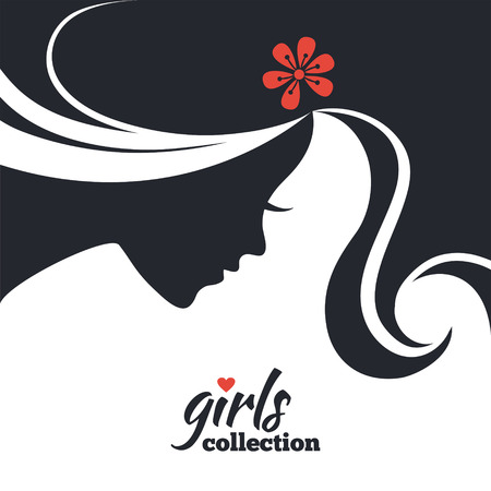 beauty girl pretty: Beautiful woman silhouette with flowers. Girls collection