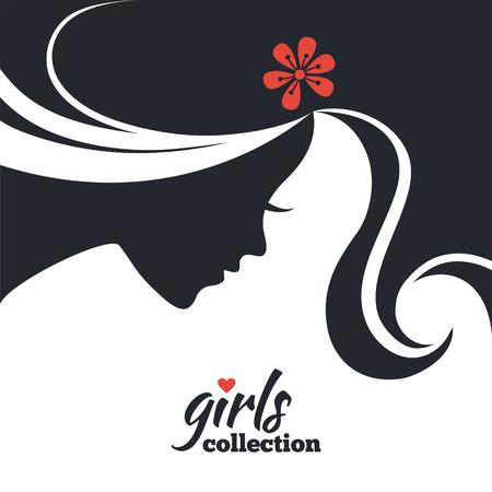 Schöne Silhouette der Frau mit Blumen. Mädchensammlung