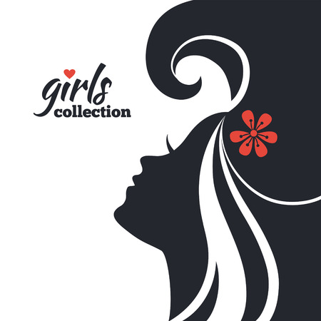 glamour model: Beautiful woman silhouette with flowers. Girls collection