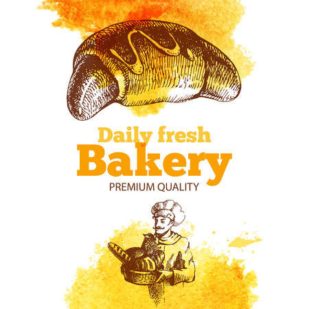 wheaten: Bakery watercolor and sketch background. Vintage hand drawn illustration. Design of package Illustration