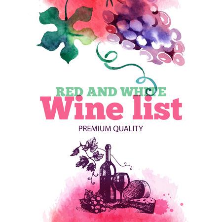 wine tasting: Wine list. Hand drawn sketch and watercolor illustration. Menu design