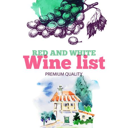 Wine list. Hand drawn sketch and watercolor illustration. Menu design Vector