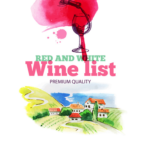 Wine list. Hand drawn sketch and watercolor illustration. Menu design  Vector