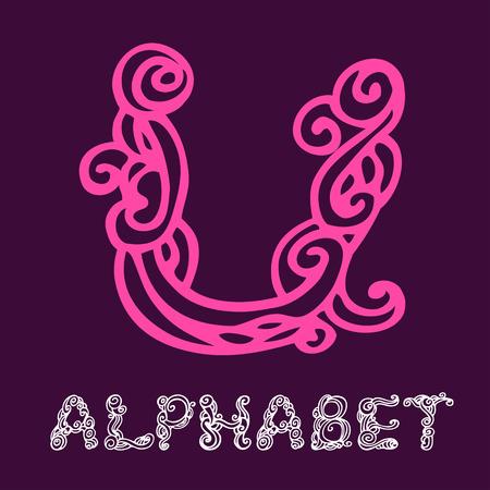 Doodle hand drawn sketch alphabet. Letter U Vector