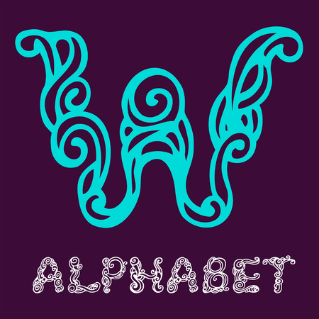 Doodle hand drawn sketch alphabet. Letter W Vector