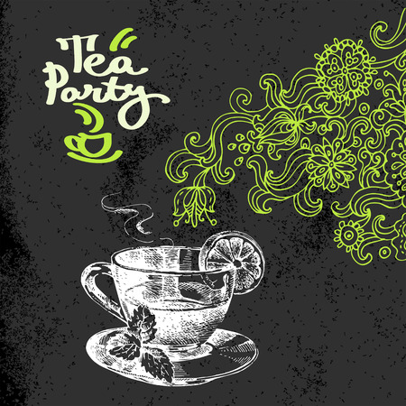 Tea vintage background. Hand drawn sketch vector illustration. Menu and package chalkboard design. Black chalk texture. Floral doodles Vector