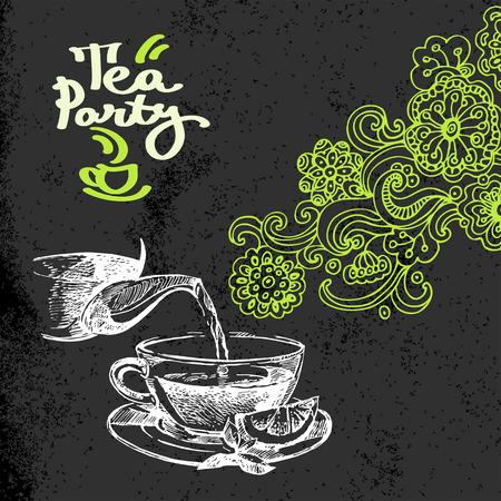 Tea vintage background. Hand drawn sketch vector illustration. Menu and package chalkboard design. Black chalk texture. Floral doodles