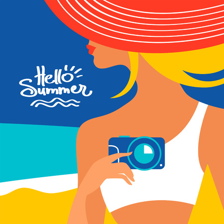 sexy girl bikini: Summer background with beautiful woman silhouette at the seaside. Vector illustration