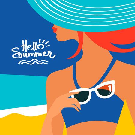 Zomer achtergrond met mooie vrouw silhouet bij de kust. vector illustratie