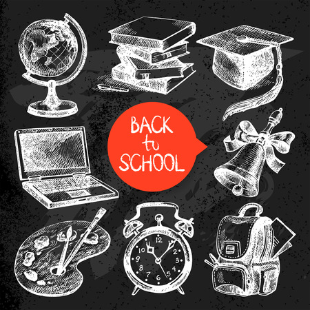 Hand drawn sketch education object set. Back to school vector illustrations. Chalkboard design. Black chalk texture Vector
