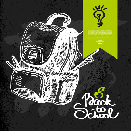 Hand drawn back to school background. Education sketch. Vector illustration. Chalkboard design Vector