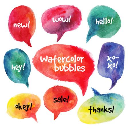 Watercolor speech bubbles set  Vector illustrations