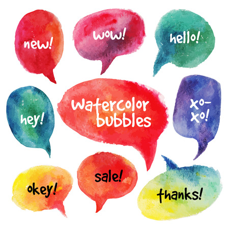 Watercolor speech bubbles set  Vector illustrations